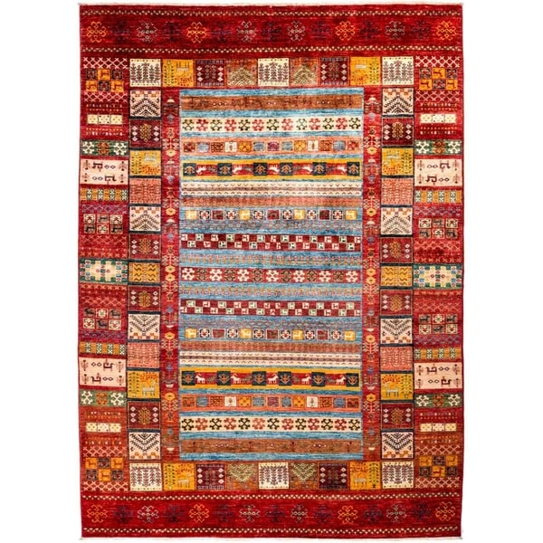"""Tribal, Hand Knotted Area Rug - 6' 9"""" x 9' 6"""" - 6'9"""" x 9'6"""""""