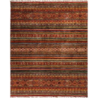 """Tribal, Hand Knotted Area Rug - 8' 2"""" x 10' 0"""" - 8'2"""" x 10'"""