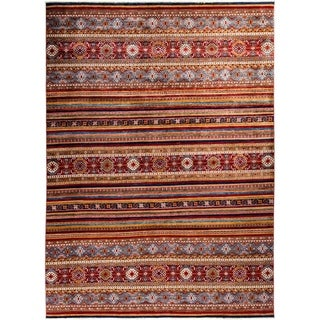 """Tribal, Hand Knotted Area Rug - 9' 0"""" x 12' 2"""" - 9' x 12'2"""""""