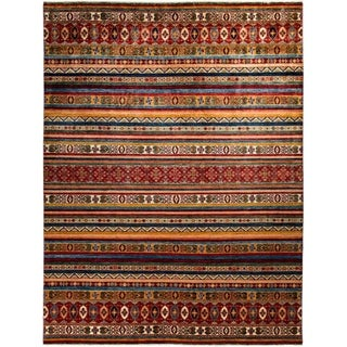 """Tribal, Hand Knotted Area Rug - 9' 2"""" x 12' 0"""" - 9'2"""" x 12'"""