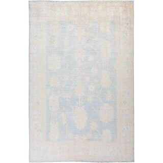 """Silky Oushak, Hand Knotted Area Rug - 6' 2"""" x 8' 10"""" - 6'2"""" x 8'10"""""""