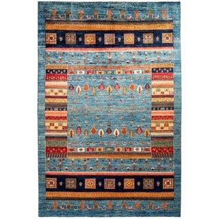 """Tribal, Hand Knotted Area Rug - 6' 7"""" x 9' 10"""" - 6'7"""" x 9'10"""""""