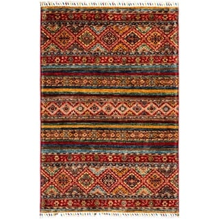 "Tribal, Hand Knotted Area Rug - 3' 6"" x 5' 1"" - 3'6"" x 5'1"""