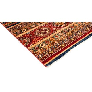 """Tribal, Hand Knotted Area Rug - 6' 9"""" x 9' 7"""" - 6'9"""" x 9'7"""""""