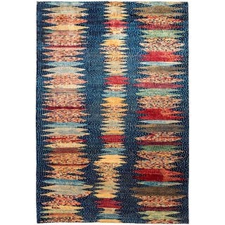 """Tribal, Hand Knotted Area Rug - 6' 8"""" x 9' 9"""" - 6' 8"""" x 9' 9"""""""