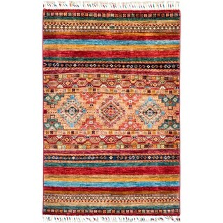 "Tribal, Hand Knotted Area Rug - 3' 4"" x 5' 1"" - 3'4"" x 5'1"""