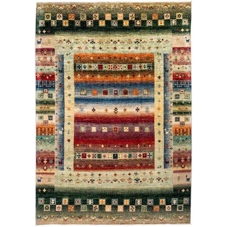 """Tribal, Hand Knotted Area Rug - 6' 10"""" x 9' 10"""" - 6'10"""" x 9'10"""""""