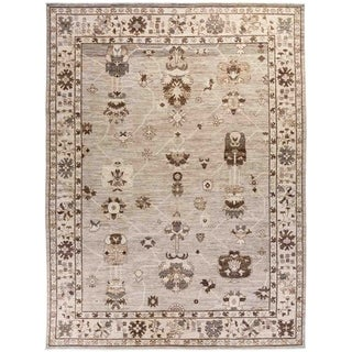 """Oushak, Hand Knotted Area Rug - 8' 9"""" x 11' 7"""" - 8'9"""" x 11'7"""""""