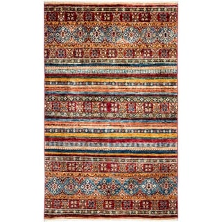 "Tribal, Hand Knotted Area Rug - 3' 5"" x 5' 6"" - 3'5"" x 5'6"""