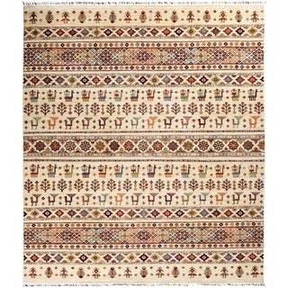 """Tribal, Hand Knotted Area Rug - 8' 4"""" x 9' 6"""" - 8'4"""" x 9'6"""""""