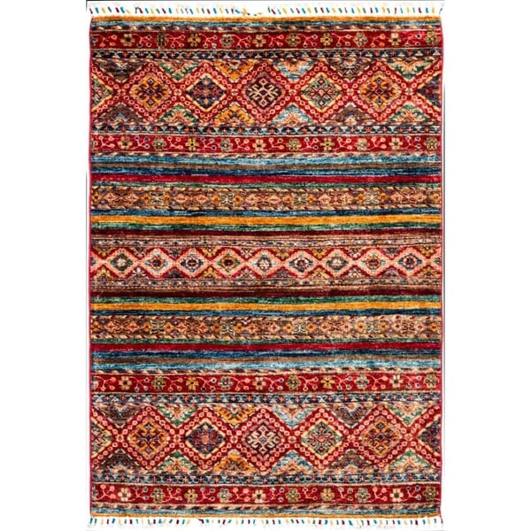 "Tribal, Hand Knotted Area Rug - 3' 5"" x 5' 1"" - 3'5"" x 5'1"""