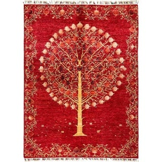 """Tribal, Hand Knotted Area Rug - 5' 1"""" x 6' 9"""" - 5'1"""" x 6'9"""""""