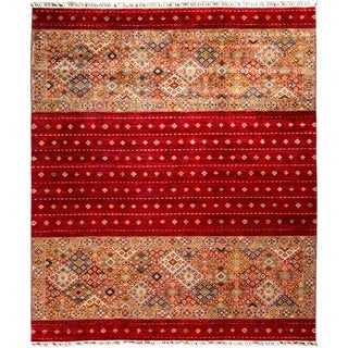 """Tribal, Hand Knotted Area Rug - 8' 5"""" x 9' 10"""" - 8'5"""" x 9'10"""""""
