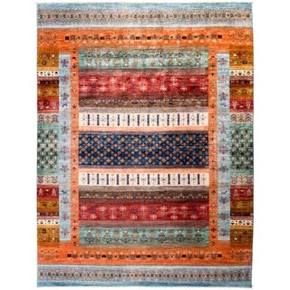 """Tribal, Hand Knotted Area Rug - 8' 2"""" x 10' 6"""" - 8'2"""" x 10'6"""""""