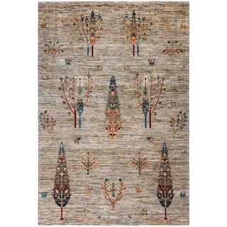"""Tribal, Hand Knotted Area Rug - 6' 10"""" x 9' 6"""" - 6'10"""" x 9'6"""""""