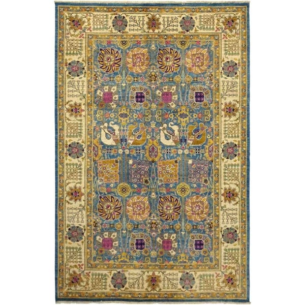 """Eclectic, Hand Knotted Area Rug - 6' 2"""" x 9' 5"""" - 6'2"""" x 9'5"""""""