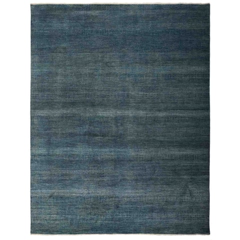 Contemporary Solid One-of-a-Kind Hand-Knotted Area Rug - 8 x 10