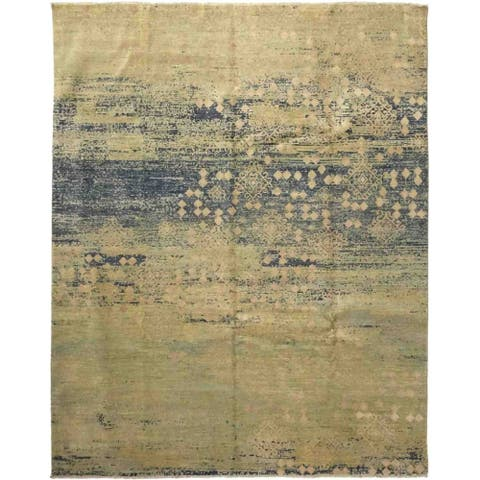 Contemporary Abstract One-of-a-Kind Hand-Knotted Area Rug - 8 x 10