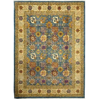"Eclectic, Hand Knotted Area Rug - 9' 10"" x 13' 7"" - 9'10"" x 13'7"""