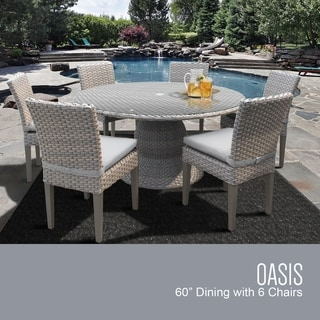 Link to Florence 60 Inch Outdoor Patio Dining Table with 6 Armless Chairs Similar Items in Outdoor Dining Sets