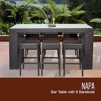 Napa Bar Table Set With Backless Barstools 7 Piece Outdoor Wicker Patio Furniture