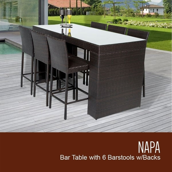 Napa Bar Table Set With Barstools 7 Piece Outdoor Wicker Patio Furniture