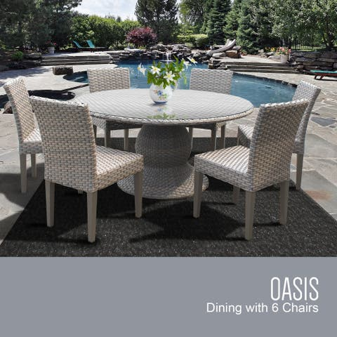 Oasis 60 Inch Outdoor Patio Dining Table with 6 Armless Chairs