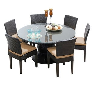Napa 60 Inch Outdoor Patio Dining Table with 6 Armless Chairs