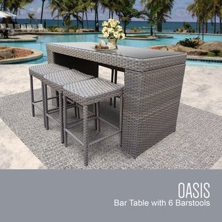 Shop Milton Outdoor 7-piece Brown Wicker Bar Set by ... on Safavieh Outdoor Living Horus Dining Set id=47797