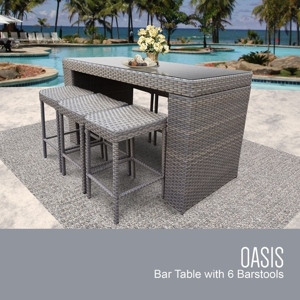 Oasis Bar Table Set With Backless Barstools 7 Piece Outdoor Wicker Patio Furniture