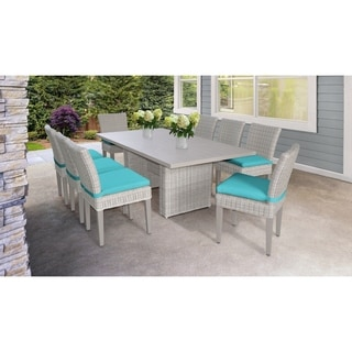 Coast Rectangular Outdoor Patio Dining Table with 8 Armless Chairs