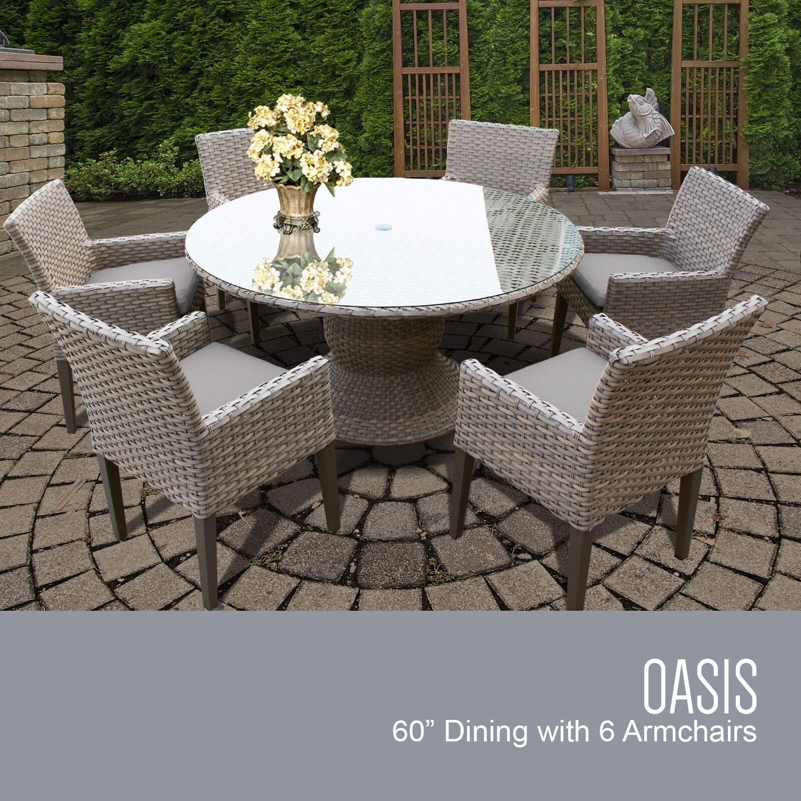 Picture of: Oasis 60 Inch Outdoor Patio Dining Table With 6 Chairs W Arms Overstock 26423915 Standard