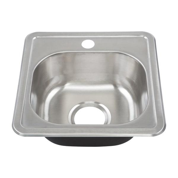 Yosemite Home Decor 22-Gauge Stainless Steel Drop In Bar Sink - 15 x 15 x 6 - 15 x 15 x 6