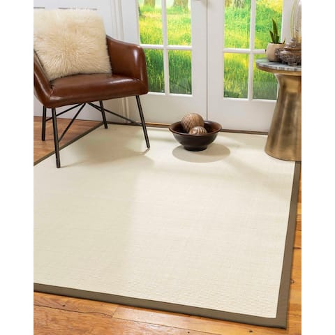 Natural Area Rugs 100%, Natural Fiber Handmade Icon, White Wool/Sisal Rug, Fossil Border - 12' x 15'