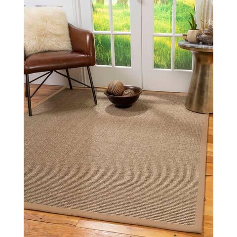 Natural Area Rugs 100%, Natural Fiber Handmade Sandstone, Brown/Multi Sisal Rug, Wheat Border - 10' x 14'