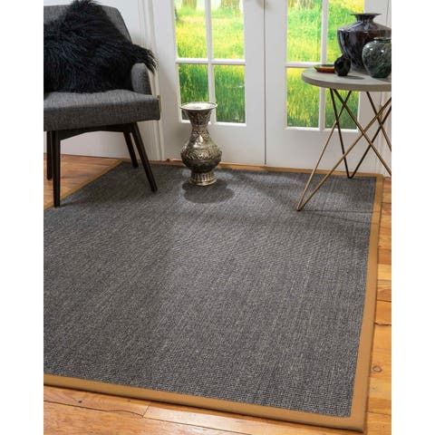 Natural Area Rugs 100%, Natural Fiber Handmade Shadows, Greyish Blue Sisal Rug, Doe Border - 10' x 14'