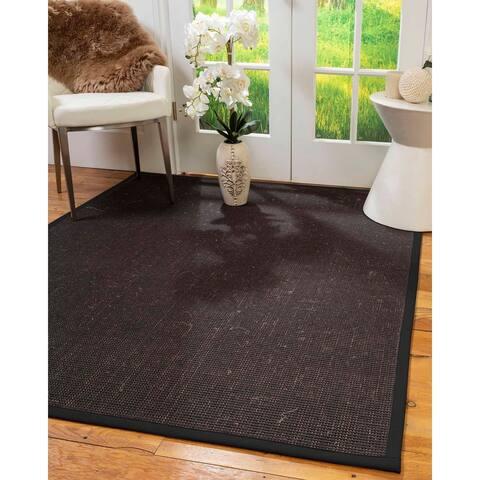 Natural Area Rugs 100%, Natural Fiber Handmade Vida, Black Wool/Sisal Rug, Black Border - 10' x 14'
