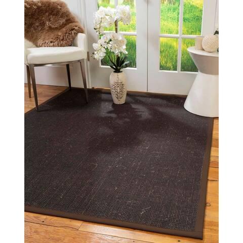 Natural Area Rugs 100%, Natural Fiber Handmade Vida, Black Wool/Sisal Rug, Fudge Border - 12' x 15'