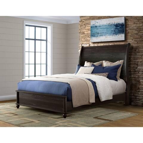 Martin Svensson Home Pine Creek Solid Wood Sleigh Bed, Antique Black