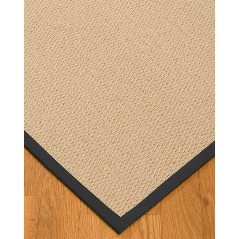 Natural Area Rugs 100%, Natural Fiber Handmade Cassel, Pinkish Beige Wool Rug, Black Border - 12' x 15'
