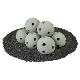 Hollow Ceramic Fire Balls Set of 5 Modern Accessory for Fire Pits and Fireplaces Brushed Concrete Look Pewter Gray 6 inch