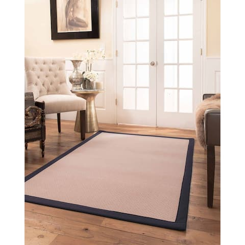 Natural Area Rugs 100%, Natural Fiber Handmade Eloise, Pink Wool Rug, Midnight Blue Border - 12' x 15'