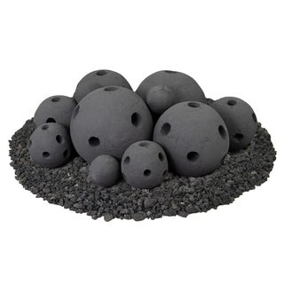 Hollow Ceramic Fire Balls Mixed Set of 13 Modern Accessory for Fire Pits and Fireplaces Brushed Concrete Look Midnight Black