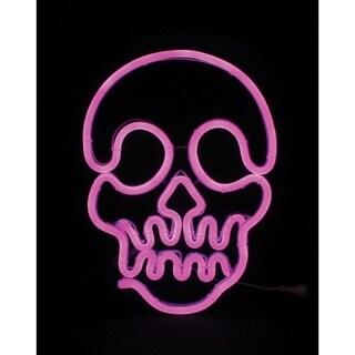 Celebrations Neon Skull Halloween Decoration Metal/Glass Purple 1 pk