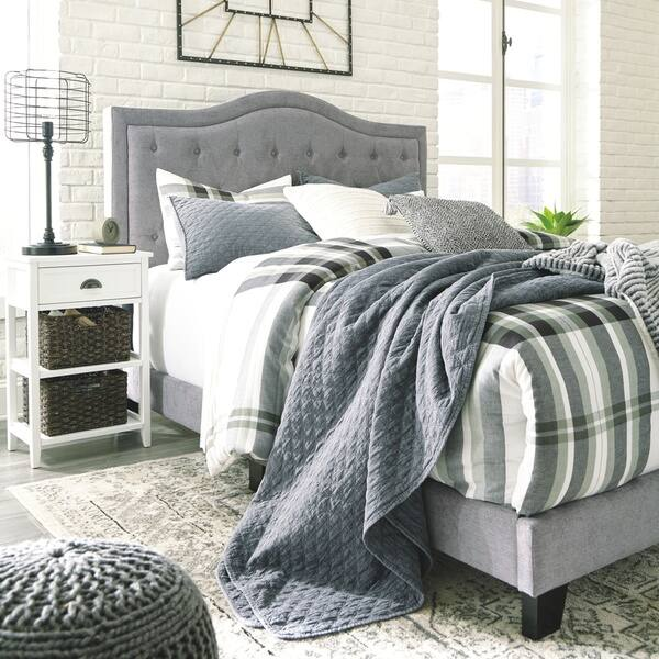 Shop Jerary King Upholstered Bed Grey On Sale Overstock 26427124