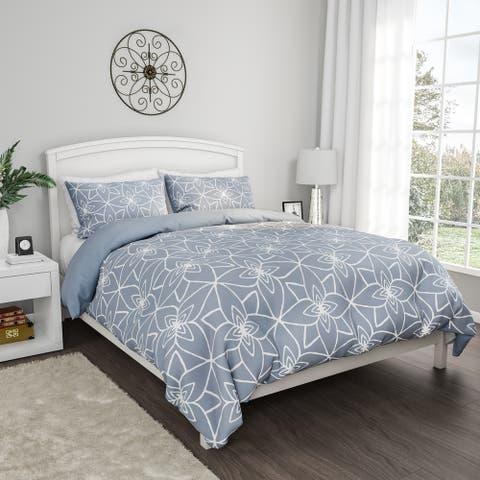 Comforter Set Stargaze Design- 3 Pc. King Set With 2 Pillow Shams, Geometric Pattern, Reversible, Hypoallergenic By Windsor Home