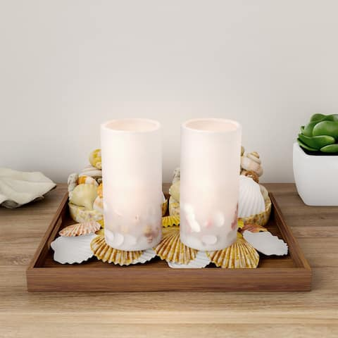 LED Seashell Candles with Remote Control-Set of 2 Nautical Flameless Color Changing Pillar Lights-Ambient Coastal by Lavish Home