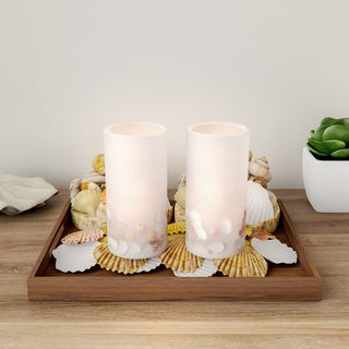 Link to LED Seashell Candles with Remote Control-Set of 2 Nautical Flameless Color Changing Pillar Lights-Ambient Coastal by Lavish Home Similar Items in Decorative Accessories