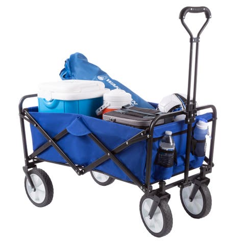 Collapsible Utility Wagon with Telescoping Handle  Heavy Duty Wheeled Cart for Camping, Gardening, Landscaping by Pure Garden