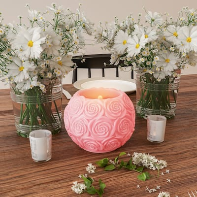 LED Candle with Remote Control-Rose Ball Scented Wax, Flickering or Steady Light by Lavish Home